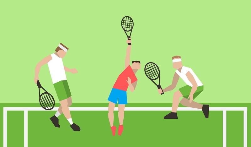 テニスをする